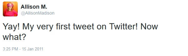 AllisonMadison first tweet 1-15-2011